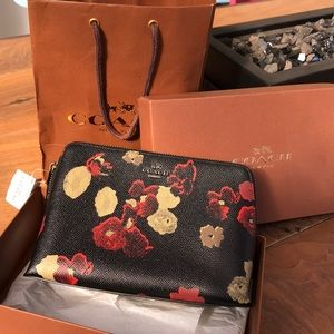 Coach floral black/multi cosmetics case